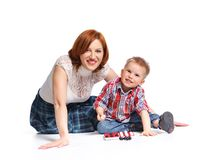 Mother and her son posing together Royalty Free Stock Image
