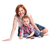 Mother and her son posing together Royalty Free Stock Photography