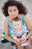 Mother and her son posing Royalty Free Stock Photography