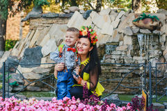 Mother with her son smiling Stock Photos