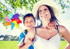 Mother And Her Son Together Outdoors Royalty Free Stock Photography