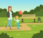 Mother and her son walking in summer park outside, family leisure vector illustration. Web banner vector illustration
