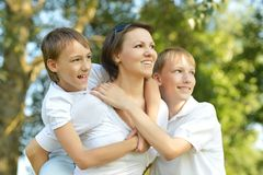Mother with her sons Royalty Free Stock Photos