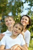 Mother with her sons Stock Photos