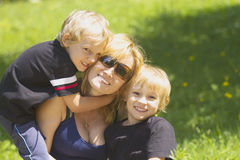 Mother with her sons. Royalty Free Stock Photography