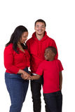 A mother and her 2 sons. On white Royalty Free Stock Image