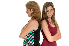 Mother and her teen daughter angry at each other Stock Photos