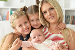 Mother with her three daughters Stock Photos