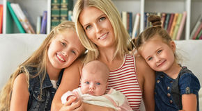 Mother with her three daughters Royalty Free Stock Photography