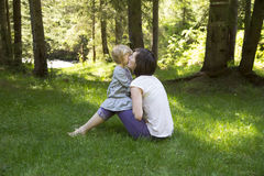 Mother with her toddler baby in the nature Royalty Free Stock Photography