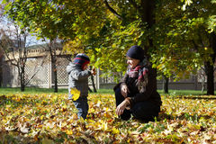 Mother with her toddler at park Stock Photography