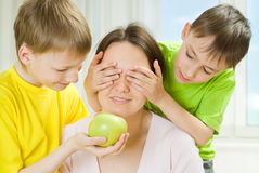 Mother with her two children Royalty Free Stock Photography