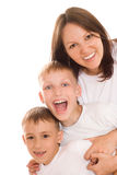 Mother with her two children Stock Photography