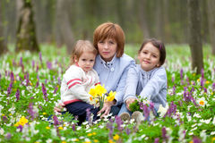 Mother and her two daughters Royalty Free Stock Images