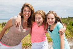 A mother and her two daughters Royalty Free Stock Images