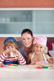 Mother with her Two Kids  smiling Stock Photo