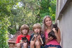 Mother with her two sons, sitting and holding cats royalty free stock photo