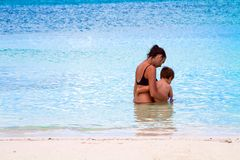 Mother and Child at the Beach stock photography