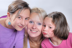 Mother and her young daughters Stock Photos