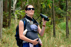 Mother hike with her infant baby Stock Images