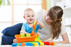 Mother with his child son play together Stock Image