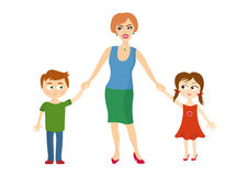 Mother hold children's hands. Illustration of mother with children on a white background. Two children with her mother Royalty Free Stock Image