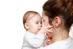 Mother holding baby. On white background Royalty Free Stock Photo