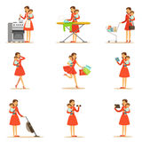 Mother Holding Baby In Arms Doing Different Activities Series Of Illustrations With Supermom And Her Duties. Young Mom With Kid Managing To Do Everything Stock Image