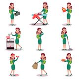 Mother holding baby in her arms and doing different activities, super mom concept, vector Illustrations Royalty Free Stock Images