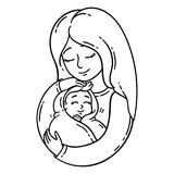Mother holding baby. Isolated objects on white background. Vector illustration. Coloring pages. Mother and her baby. Isolated objects on white background vector illustration