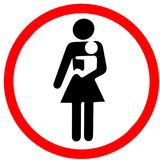 Mother holding baby may enter warning red circle road sign isolated on white. Background vector illustration