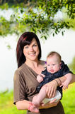 Mother holding baby in park Royalty Free Stock Photography