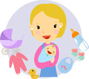 Mother holding baby with smiling Royalty Free Stock Images