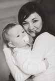 Mother holding baby son Royalty Free Stock Photo