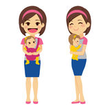 Mother Holding Baby. Mother on two different actions holding baby with baby carrier and with arms while baby is sleeping Royalty Free Stock Image