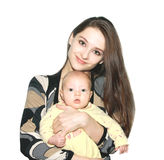 Mother holding beautiful baby girl Stock Photo
