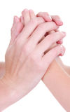 Mother holding childs hands Stock Photo