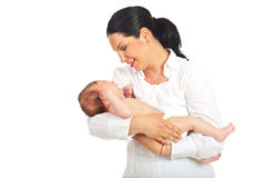 Mother holding crying newborn baby Stock Images