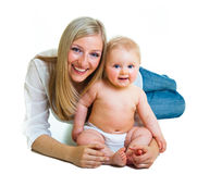 Mother holding cute infant girl Royalty Free Stock Photo