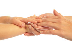 Mother holding hand of children Royalty Free Stock Photos