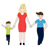 Mother holding the hand of his two sons Royalty Free Stock Photos