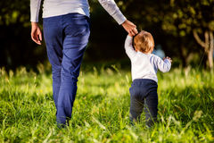Mother holding hands of her son making first steps Royalty Free Stock Photos