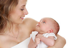 Mother holding her baby Royalty Free Stock Photos