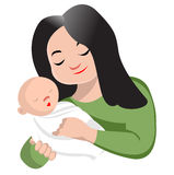 Mother holding her baby. An illustration Royalty Free Stock Photography