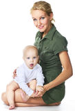 Mother holding her baby boy stock images