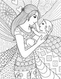 Mother holding her baby, clean line doodle art design. Mother holding her baby,  clean line doodle art design for coloring book for adult, cards and so on Stock Photography