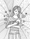 Mother holding her baby, clean line doodle art design. Mother holding  her baby, clean line doodle art design for coloring book for adult, cards and so on Stock Photos