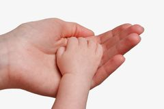 Mother holding her child's hand. Isolated on white background Royalty Free Stock Image