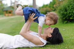 Mother Holding Laughing Child Royalty Free Stock Photography