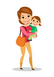 Mother is holding little daughter. Woman and baby isolated on white background. Vector illustration royalty free illustration